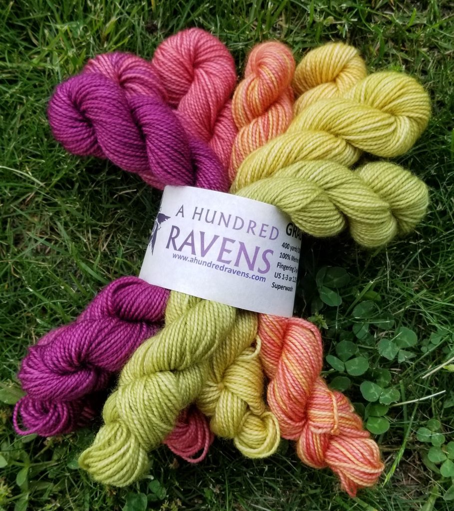 a mini-skein set from AHR; seven colorful skeins of fingering-weight yarn
