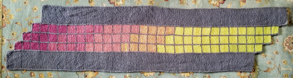 "The ""Mormont"" wrap laid out flat, showing stepped color transitions from end to end"